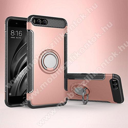 OTT! METAL RING szilikon védő tok / hátlap - ROSE GOLD - fém ujjgyűrű, tapadófelület mágneses autós tartóhoz, szilikon betétes, kitámasztható, karbon minta - ERŐS VÉDELEM! - Xiaomi Mi 6