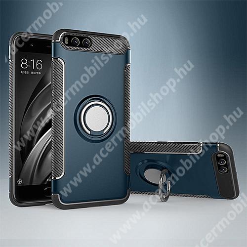 OTT! METAL RING szilikon védő tok / hátlap - VILÁGOSKÉK - fém ujjgyűrű, tapadófelület mágneses autós tartóhoz, szilikon betétes, kitámasztható, karbon minta - ERŐS VÉDELEM! - Xiaomi Mi 6