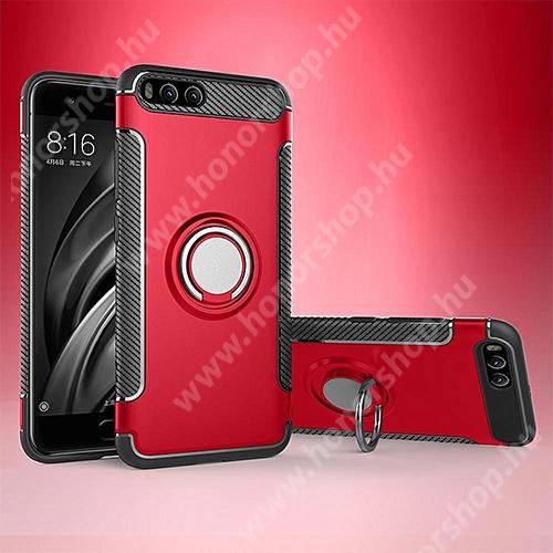 OTT! METAL RING szilikon védő tok / hátlap - PIROS - fém ujjgyűrű, tapadófelület mágneses autós tartóhoz, szilikon betétes, kitámasztható, karbon minta - ERŐS VÉDELEM! - Xiaomi Mi 6