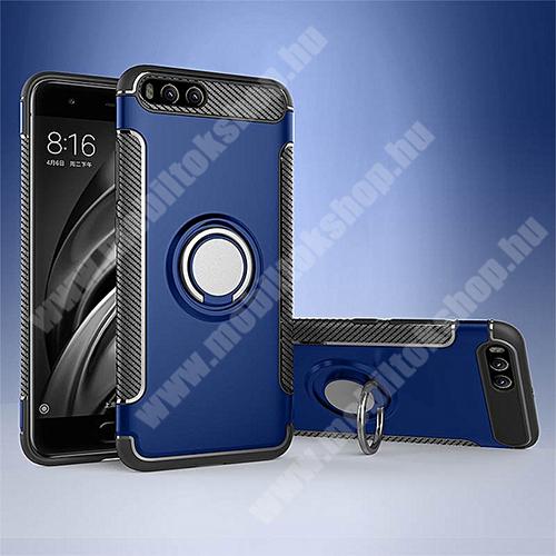 OTT! METAL RING szilikon védő tok / hátlap - SÖTÉTKÉK - fém ujjgyűrű, tapadófelület mágneses autós tartóhoz, szilikon betétes, kitámasztható, karbon minta - ERŐS VÉDELEM! - Xiaomi Mi 6