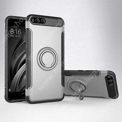 OTT! METAL RING szilikon védő tok / hátlap - EZÜST - fém ujjgyűrű, tapadófelület mágneses autós tartóhoz, szilikon betétes, kitámasztható, karbon minta - ERŐS VÉDELEM! - Xiaomi Mi 6