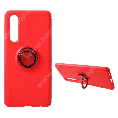 OTT! METAL RING szilikon védő tok / hátlap - PIROS - fém ujjgyűrű, tapadófelület mágneses autós tartóhoz, ERŐS VÉDELEM! - HUAWEI P30