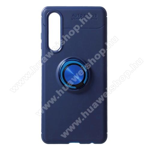 OTT! METAL RING szilikon védő tok / hátlap - KÉK - fém ujjgyűrű, tapadófelület mágneses autós tartóhoz, ERŐS VÉDELEM! - HUAWEI P30