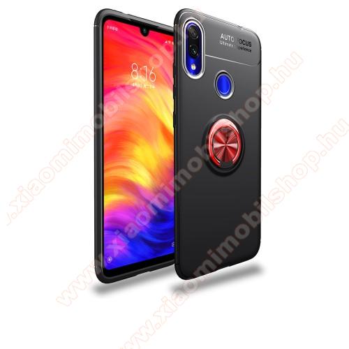 Xiaomi Redmi Note 7OTT! METAL RING szilikon védő tok / hátlap - FEKETE / PIROS - fém ujjgyűrű, tapadófelület mágneses autós tartóhoz, kitámasztható, ERŐS VÉDELEM! - Xiaomi Redmi Note 7 / Xiaomi Redmi Note 7 Pro / Xiaomi Redmi Note 7S