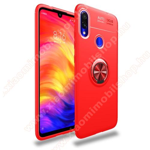 Xiaomi Redmi Note 7OTT! METAL RING szilikon védő tok / hátlap - PIROS - fém ujjgyűrű, tapadófelület mágneses autós tartóhoz, kitámasztható, ERŐS VÉDELEM! - Xiaomi Redmi Note 7 / Xiaomi Redmi Note 7 Pro / Xiaomi Redmi Note 7S