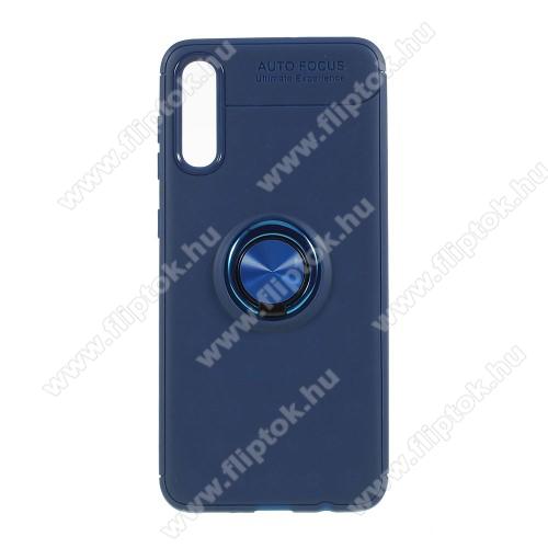 OTT! METAL RING szilikon védő tok / hátlap - KÉK - fém ujjgyűrű, tapadófelület mágneses autós tartóhoz, ERŐS VÉDELEM! - SAMSUNG SM-A307F Galaxy A30s / SAMSUNG SM-A505F Galaxy A50 / SAMSUNG Galaxy A50s