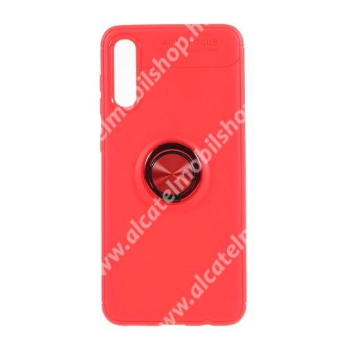 OTT! METAL RING szilikon védő tok / hátlap - PIROS - fém ujjgyűrű, tapadófelület mágneses autós tartóhoz, kitámasztható, ERŐS VÉDELEM! - SAMSUNG SM-A705F Galaxy A70