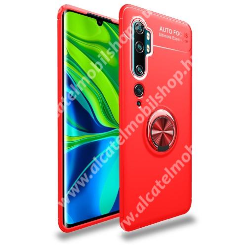 OTT! METAL RING szilikon védő tok / hátlap - PIROS - fém ujjgyűrű, tapadófelület mágneses autós tartóhoz, ERŐS VÉDELEM! - Xiaomi Mi Note 10 / Xiaomi Mi Note 10 Pro / Xiaomi Mi CC9 Pro
