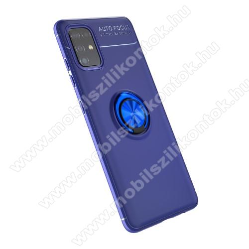 OTT! METAL RING szilikon védő tok / hátlap - SÖTÉTKÉK - fém ujjgyűrű, tapadófelület mágneses autós tartóhoz, ERŐS VÉDELEM! - SAMSUNG Galaxy A51 (SM-A515F)
