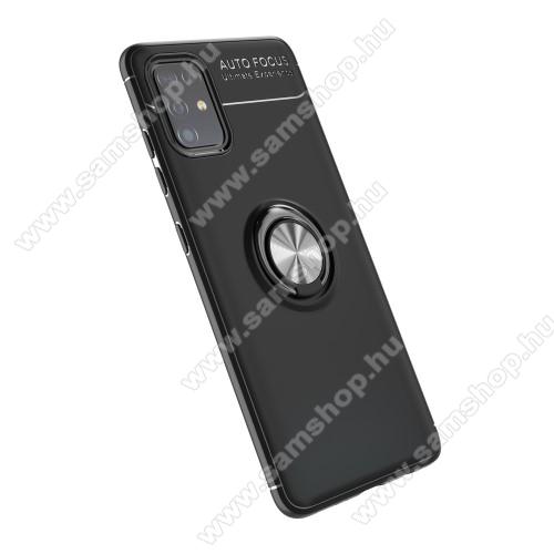 OTT! METAL RING szilikon védő tok / hátlap - FEKETE - fém ujjgyűrű, tapadófelület mágneses autós tartóhoz, ERŐS VÉDELEM! - SAMSUNG Galaxy A51 (SM-A515F)