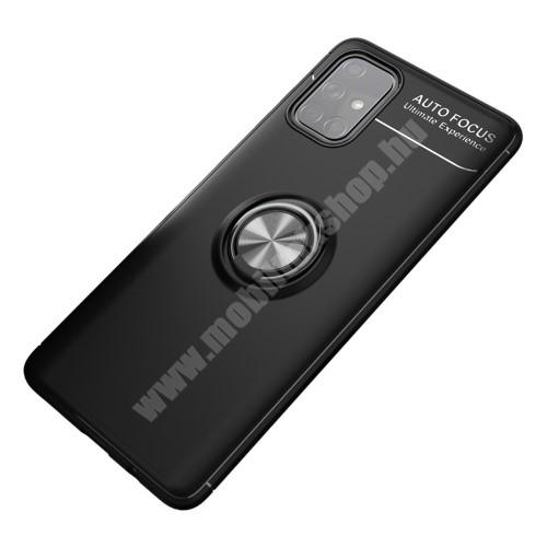 OTT! METAL RING szilikon védő tok / hátlap - FEKETE - fém ujjgyűrű, tapadófelület mágneses autós tartóhoz, ERŐS VÉDELEM! - SAMSUNG Galaxy A71 (SM-A715F)