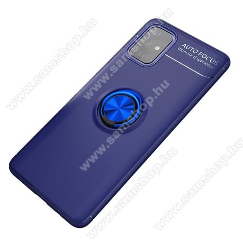 OTT! METAL RING szilikon védő tok / hátlap - SÖTÉTKÉK - fém ujjgyűrű, tapadófelület mágneses autós tartóhoz, ERŐS VÉDELEM! - SAMSUNG Galaxy A71 (SM-A715F)