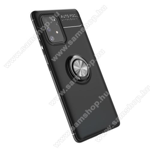 OTT! METAL RING szilikon védő tok / hátlap - FEKETE - fém ujjgyűrű, tapadófelület mágneses autós tartóhoz, ERŐS VÉDELEM! - SAMSUNG Galaxy S10 Lite (SM-G770F) / SAMSUNG Galaxy A91 (SM-A915F/DS)