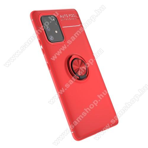 OTT! METAL RING szilikon védő tok / hátlap - PIROS - fém ujjgyűrű, tapadófelület mágneses autós tartóhoz, ERŐS VÉDELEM! - SAMSUNG Galaxy S10 Lite (SM-G770F) / SAMSUNG Galaxy A91 (SM-A915F/DS)