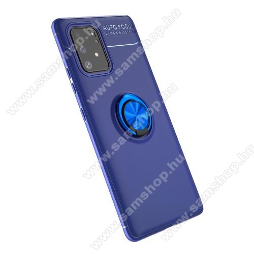 OTT! METAL RING szilikon védő tok / hátlap - KÉK - fém ujjgyűrű, tapadófelület mágneses autós tartóhoz, ERŐS VÉDELEM! - SAMSUNG Galaxy S10 Lite (SM-G770F) / SAMSUNG Galaxy A91 (SM-A915F/DS)
