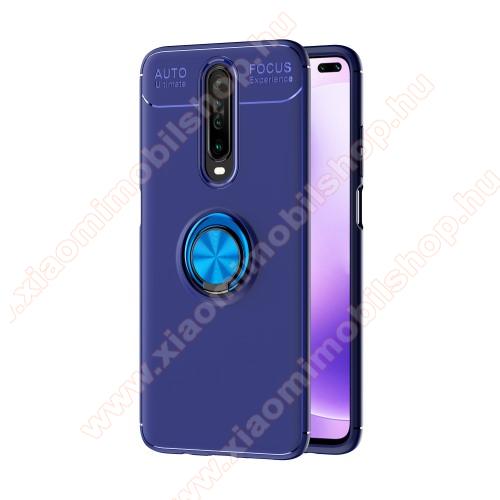 OTT! METAL RING szilikon védő tok / hátlap - SÖTÉTKÉK - fém ujjgyűrű, tapadófelület mágneses autós tartóhoz, ERŐS VÉDELEM! - Xiaomi Redmi K30 / Xiaomi Redmi K30 5G / Xiaomi Poco X2 / Redmi K30i 5G