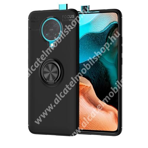 OTT! METAL RING szilikon védő tok / hátlap - FEKETE - fém ujjgyűrű, tapadófelület mágneses autós tartóhoz, ERŐS VÉDELEM! - Xiaomi Redmi K30 Pro / Xiaomi Redmi K30 Pro Zoom / Xiaomi Poco F2 Pro