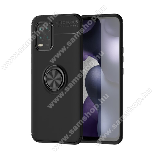 OTT! METAL RING szilikon védő tok / hátlap - FEKETE - fém ujjgyűrű, tapadófelület mágneses autós tartóhoz, ERŐS VÉDELEM! - Xiaomi Mi 10 Lite 5G / Xiaomi Mi 10 Youth 5G / Xiaomi Mi 10 Lite Zoom