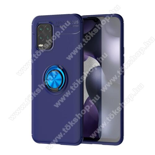 OTT! METAL RING szilikon védő tok / hátlap - KÉK - fém ujjgyűrű, tapadófelület mágneses autós tartóhoz, ERŐS VÉDELEM! - Xiaomi Mi 10 Lite 5G / Xiaomi Mi 10 Youth 5G / Xiaomi Mi 10 Lite Zoom