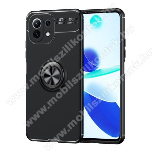 OTT! METAL RING szilikon védő tok / hátlap - FEKETE - fém ujjgyűrű, tapadófelület mágneses autós tartóhoz, kitámasztható, ERŐS VÉDELEM! - Xiaomi Mi 11 Lite / Xiaomi Mi 11 Lite 5G