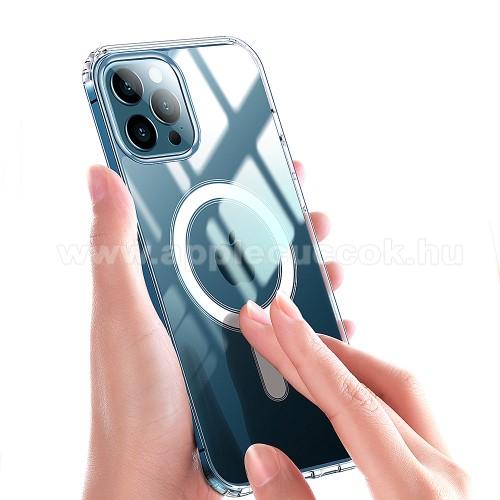 OTT! MILITARY műanyag védő tok / hátlap - ÁTLÁTSZÓ - MagSafe-rögzítésű, vezeték nélküli töltés támogatás, szilikon szegély, erősített sarkok - ERŐS VÉDELEM! - APPLE iPhone 11 Pro Max