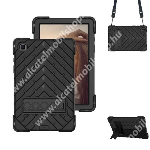 OTT! RHOMBUS műanyag védő tok / hátlap - FEKETE - három rétegű, szilikon betétes, kitámasztható, vállpánttal - ERŐS VÉDELEM! - SAMSUNG Galaxy Tab A7 10.4 (2020) (SM-T500/SM-T505)