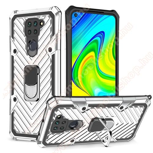 OTT! RING ARMOR műanyag védő tok / hátlap - EZÜST - szilikon betétes, kitámasztható, fém ujjgyűrűvel, tapadófelület mágneses autós tartóhoz, erősített sarkok - ERŐS VÉDELEM! - Xiaomi Redmi Note 9 / Xiaomi Redmi 10X 4G