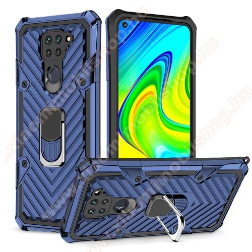 OTT! RING ARMOR műanyag védő tok / hátlap - KÉK - szilikon betétes, kitámasztható, fém ujjgyűrűvel, tapadófelület mágneses autós tartóhoz, erősített sarkok - ERŐS VÉDELEM! - Xiaomi Redmi Note 9 / Xiaomi Redmi 10X 4G
