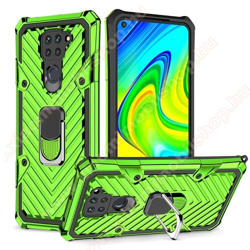 OTT! RING ARMOR műanyag védő tok / hátlap - VILÁGOSZÖLD - szilikon betétes, kitámasztható, fém ujjgyűrűvel, tapadófelület mágneses autós tartóhoz, erősített sarkok - ERŐS VÉDELEM! - Xiaomi Redmi Note 9 / Xiaomi Redmi 10X 4G