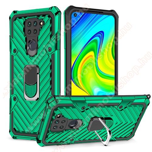 OTT! RING ARMOR műanyag védő tok / hátlap - SÖTÉTZÖLD - szilikon betétes, kitámasztható, fém ujjgyűrűvel, tapadófelület mágneses autós tartóhoz, erősített sarkok - ERŐS VÉDELEM! - Xiaomi Redmi Note 9 / Xiaomi Redmi 10X 4G