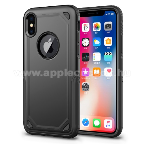 APPLE iPhone XS OTT! ROUGH m?anyag v�d? tok / h�tlap - FEKETE - szilikon bels? - ER?S V�DELEM! - APPLE iPhone X / APPLE iPhone XS