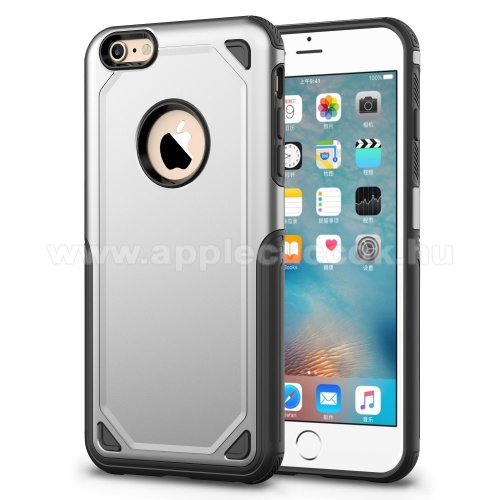 OTT! ROUGH műanyag védő tok / hátlap - EZÜST - szilikon belső - ERŐS VÉDELEM! - APPLE iPhone 6 / APPLE iPhone 6S