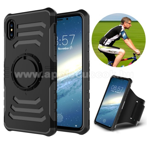 APPLE iPhone XS OTT! SHOCK SPORT m?anyag v�d? tok / h�tlap - FEKETE - szilikon bet�tes, sport karp�nttal - APPLE iPhone X / APPLE iPhone XS