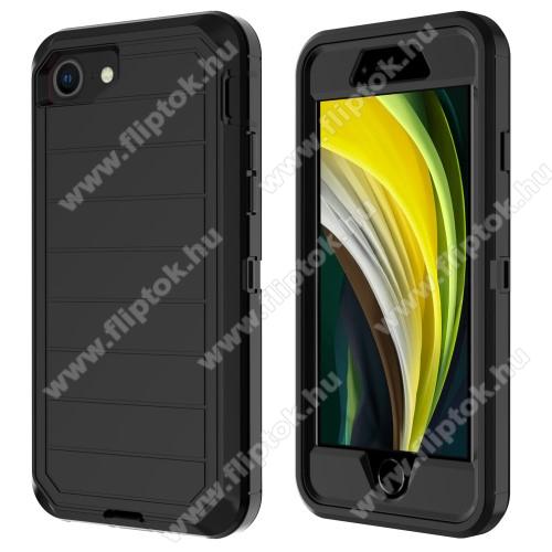 OTT! Shockproof műanyag védő tok / hátlap - FEKETE - szilikon betétes, 360°-os védelem, műanyag előlap, ERŐS VÉDELEM! - APPLE iPhone SE (2020) / APPLE iPhone 7 / APPLE iPhone 8