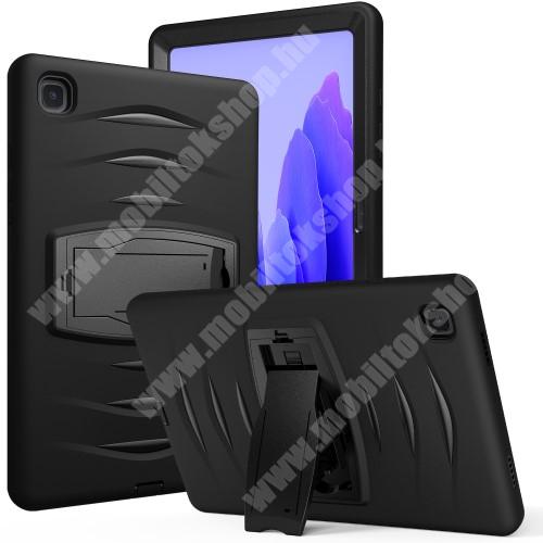 OTT! SHOCKPROOF STAND műanyag védő tok / hátlap - FEKETE - szilikon betétes, asztali tartó funkciós, három rétegű, ERŐS VÉDELEM! - SAMSUNG Galaxy Tab A7 10.4 (2020) (SM-T500/SM-T505)