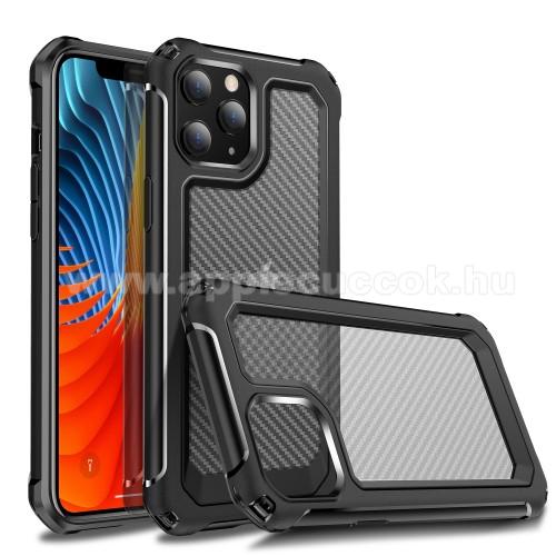 OTT! TRANSPARENT CARBON műanyag védő tok / hátlap - FEKETE / ÁTLÁTSZÓ - átlátszó hátlap, szilikon szegély, erősített sarkok, ERŐS VÉDELEM! - APPLE iPhone 12 mini
