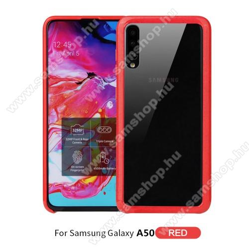 OTT! TRANSPARENT műanyag védő tok / átlátszó hátlap - PIROS - szilikon szegély, erősített sarkok - ERŐS VÉDELEM! - SAMSUNG Galaxy A30s / Galaxy A50 / Galaxy A50s