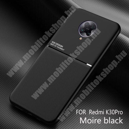 OTT! TWILL MAGNETIC szilikon védő tok / hátlap - FEKETE - textúrált mintás, beépített fémlap mágneses tartóhoz, ERŐS VÉDELEM! - Xiaomi Redmi K30 Pro / Xiaomi Redmi K30 Pro Zoom / Xiaomi Poco F2 Pro