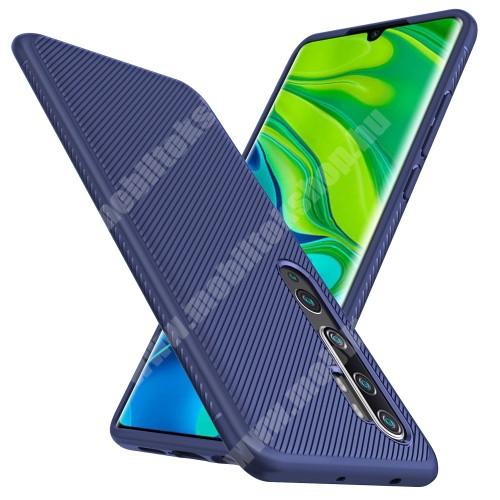 OTT! TWILL szilikon védő tok / hátlap - SÖTÉTKÉK - textúrált mintás, ERŐS VÉDELEM! - Xiaomi Mi Note 10 / Xiaomi Mi Note 10 Pro / Xiaomi Mi CC9 Pro
