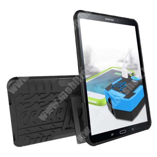 OTT! VROOM műanyag védő tok / hátlap - AUTÓGUMI MINTÁS - FEKETE - szilikon betétes, asztali tartó funkciós, ERŐS VÉDELEM! - SAMSUNG SM-T580 Galaxy Tab A 10.1 (2016) / SAMSUNG SM-T585 Galaxy Tab A 10.1 (2016)