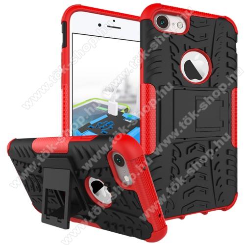 OTT! VROOM műanyag védő tok / hátlap - AUTÓGUMI MINTÁS - FEKETE / PIROS - szilikon betétes, asztali tartó funkciós, ERŐS VÉDELEM! - APPLE iPhone SE (2020) / APPLE iPhone 7 / APPLE iPhone 8