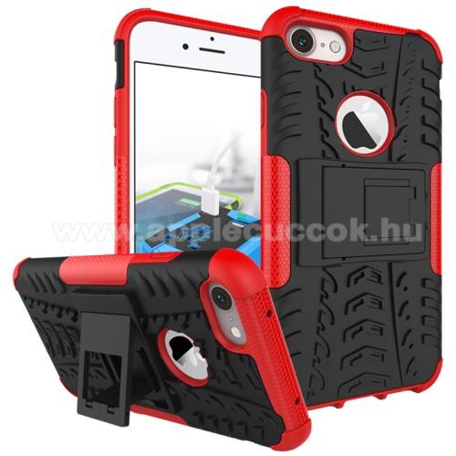 OTT! VROOM műanyag védő tok / hátlap - AUTÓGUMI MINTÁS - FEKETE / PIROS - szilikon betétes, asztali tartó funkciós, ERŐS VÉDELEM! - APPLE iPhone 7 (4.7)  / APPLE iPhone 8 (4.7)
