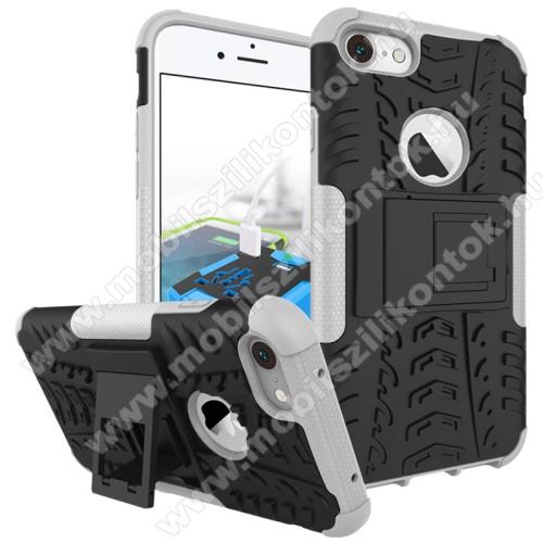 OTT! VROOM műanyag védő tok / hátlap - AUTÓGUMI MINTÁS - FEKETE / FEHÉR - szilikon betétes, asztali tartó funkciós, ERŐS VÉDELEM! - APPLE iPhone 7 (4.7)  / APPLE iPhone 8 (4.7)