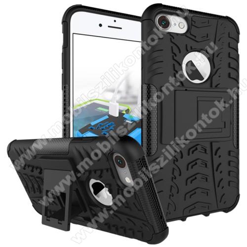 OTT! VROOM műanyag védő tok / hátlap - AUTÓGUMI MINTÁS - FEKETE - szilikon betétes, asztali tartó funkciós, ERŐS VÉDELEM! - APPLE iPhone 7 (4.7)  / APPLE iPhone 8 (4.7)