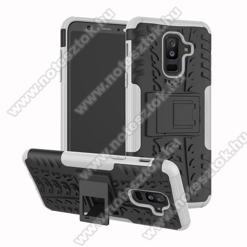 OTT! VROOM műanyag védő tok / hátlap - FEHÉR - AUTÓGUMI MINTÁS - szilikon betétes, asztali tartó funkciós, ERŐS VÉDELEM! - SAMSUNG SM-A605G Galaxy A6 Plus (2018)