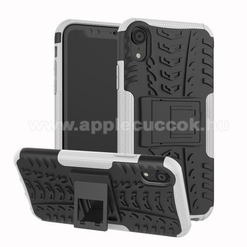 OTT! VROOM műanyag védő tok / hátlap - FEHÉR - AUTÓGUMI MINTÁS - szilikon betétes, asztali tartó funkciós, ERŐS VÉDELEM! - APPLE iPhone Xr
