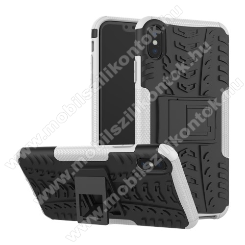 OTT! VROOM műanyag védő tok / hátlap - FEHÉR - AUTÓGUMI MINTÁS - szilikon betétes, asztali tartó funkciós, ERŐS VÉDELEM! - APPLE iPhone XS Max