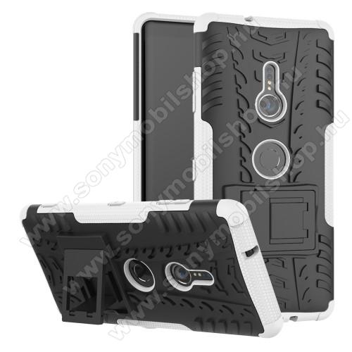 OTT! VROOM műanyag védő tok / hátlap - FEHÉR - AUTÓGUMI MINTÁS - szilikon betétes, asztali tartó funkciós, ERŐS VÉDELEM! - Sony Xperia XZ3