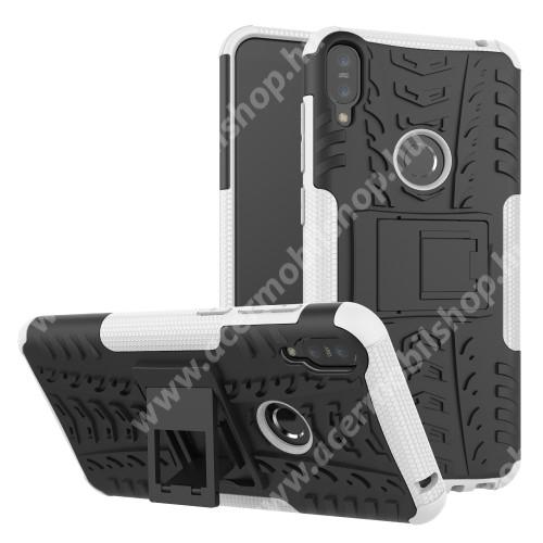 OTT! VROOM műanyag védő tok / hátlap - FEHÉR - AUTÓGUMI MINTÁS - szilikon betétes, asztali tartó funkciós, ERŐS VÉDELEM! - ASUS Zenfone Max Pro (M1) (ZB601KL) / ASUS Zenfone Max Pro (M1) (ZB602KL)