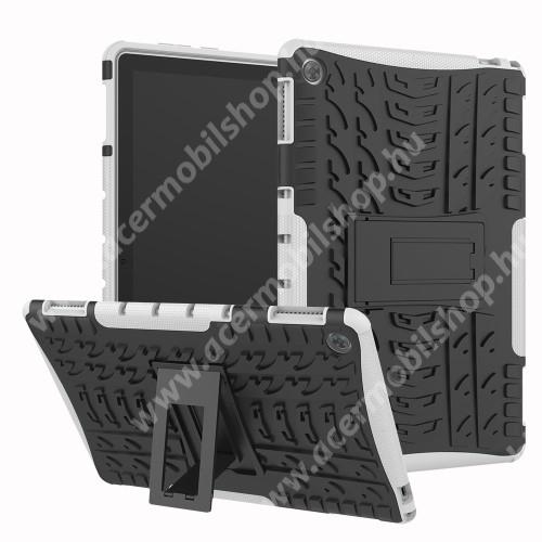 OTT! VROOM műanyag védő tok / hátlap - FEHÉR - AUTÓGUMI MINTÁS - szilikon betétes, asztali tartó funkciós, ERŐS VÉDELEM! - HUAWEI MediaPad M5 Lite 10 / HUAWEI MediaPad C5 10